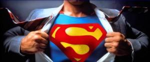 Clark Kent ripping open shirt to show Superman logo